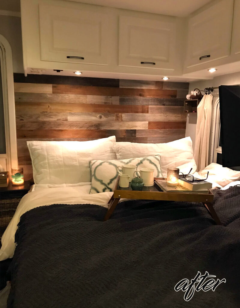 rv bedroom renovation after picture